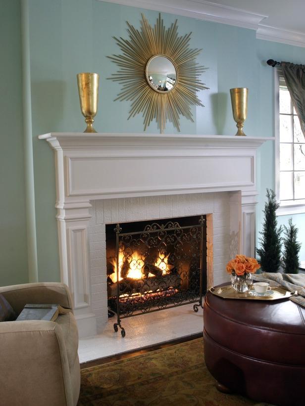 White brick fireplace photos