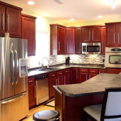 Kitchen Sink Cabinets Red Valances For Windows Angled Island Photos