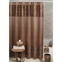Bathroom with shower curtain photos