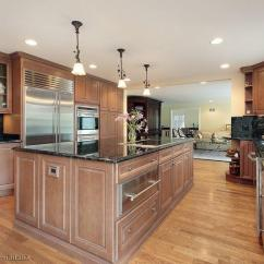 Cherry Wood Kitchen Cabinets Home Depot Undermount Sink Angled Island Photos