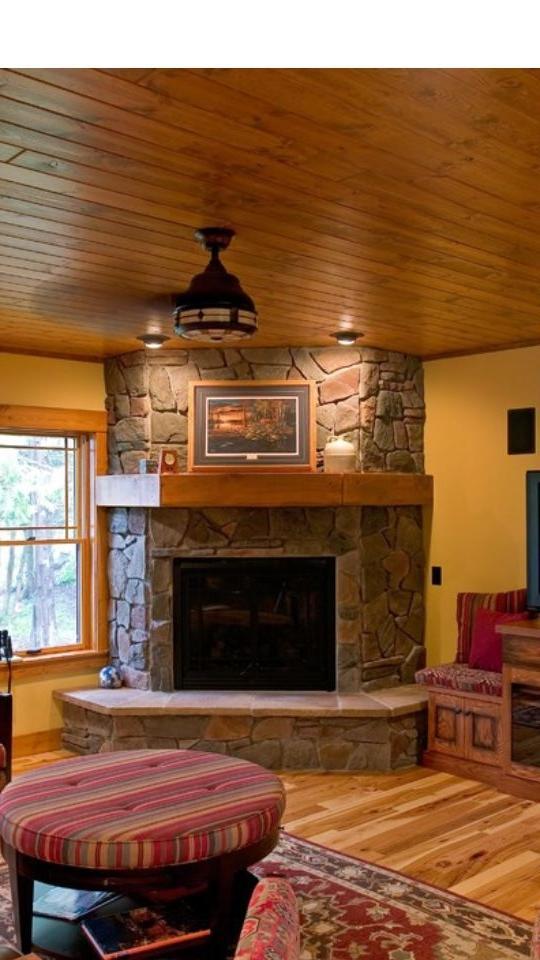 Corner fireplace remodel photos