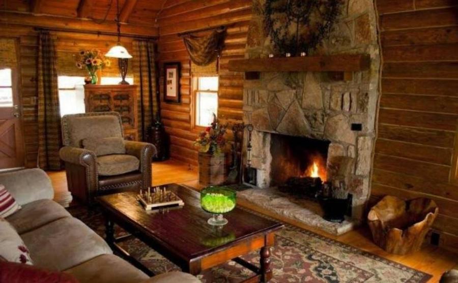 Photo chair fireplace