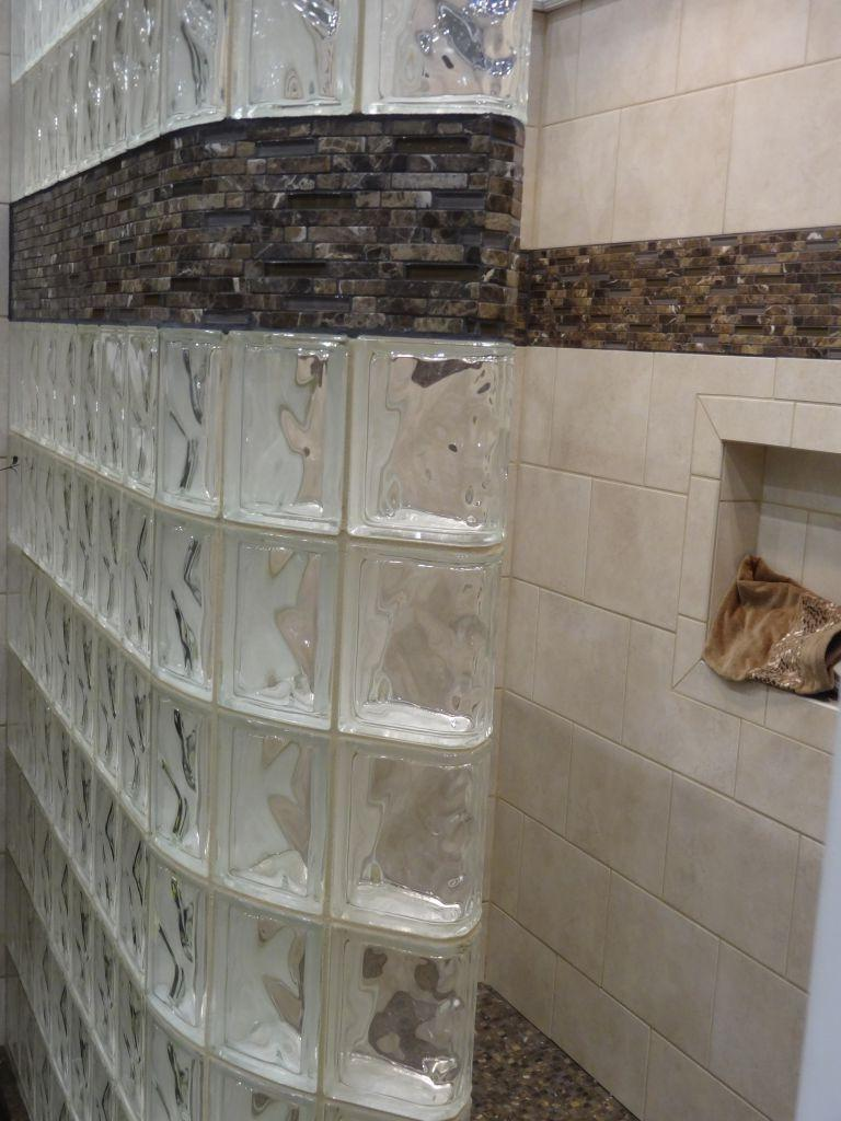 Photos of shower stall with glass blocks