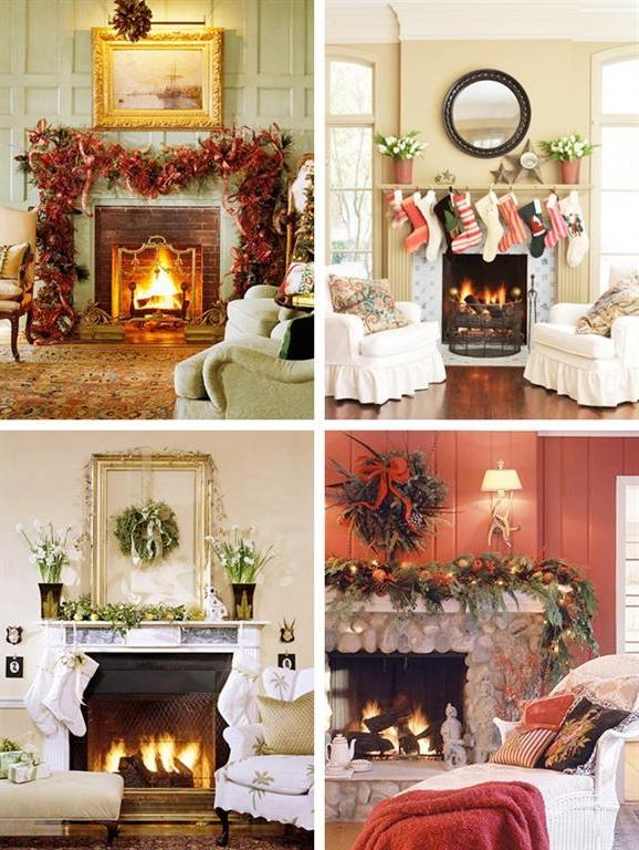 Fireplace mantel christmas decorating ideas photos
