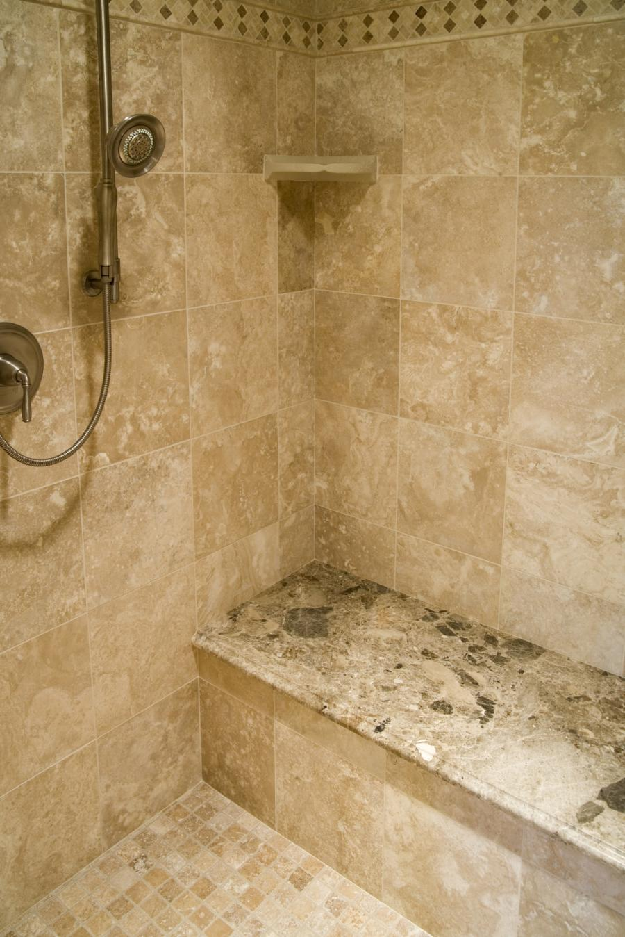 Travertine tile shower photos