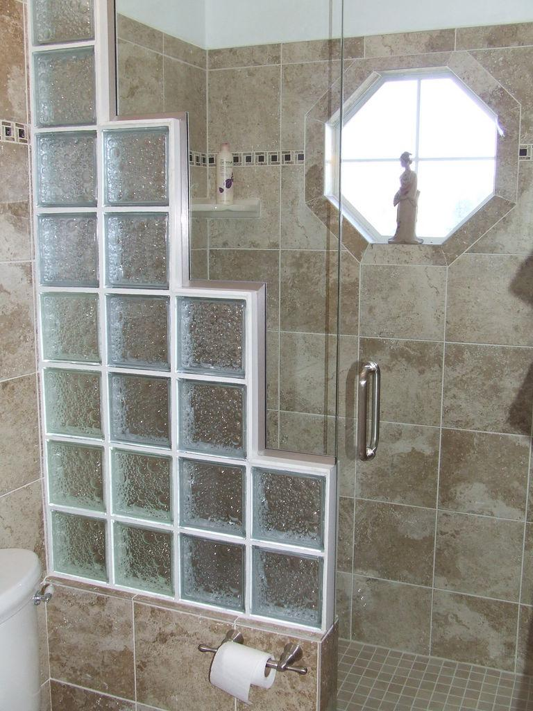 Photos of glass block showers