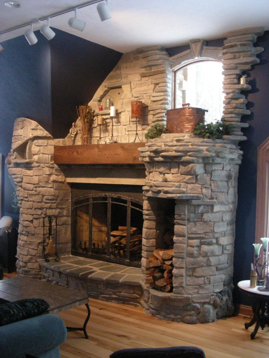 Natural stone fireplace photos