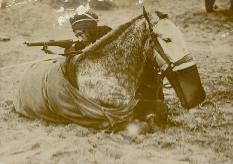 Foto Paul Lesch. Soldaat met geweer die zich verschanst achter een liggend paard. 1914-1918. Nationaal Archief.