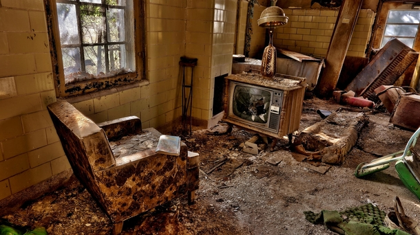 Abandoned chair and TV at Forest Haven childrens asylum in