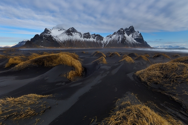 Black Sand Dunes In Front Of The Dramatic Vesturhorn