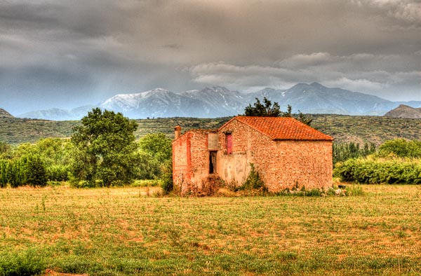 Taken in Southern France looking towards Mount Canigou from my friends home. This is a HDR photo processed from 2 images.