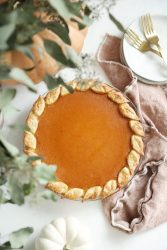 Top View Of Pumpkin Pie with Leaf Crust