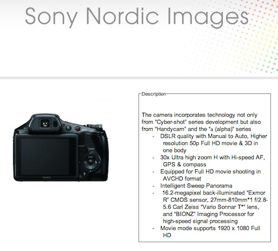 Sony DSC HX100V camera leak Sony DSC HX100V camera leaked