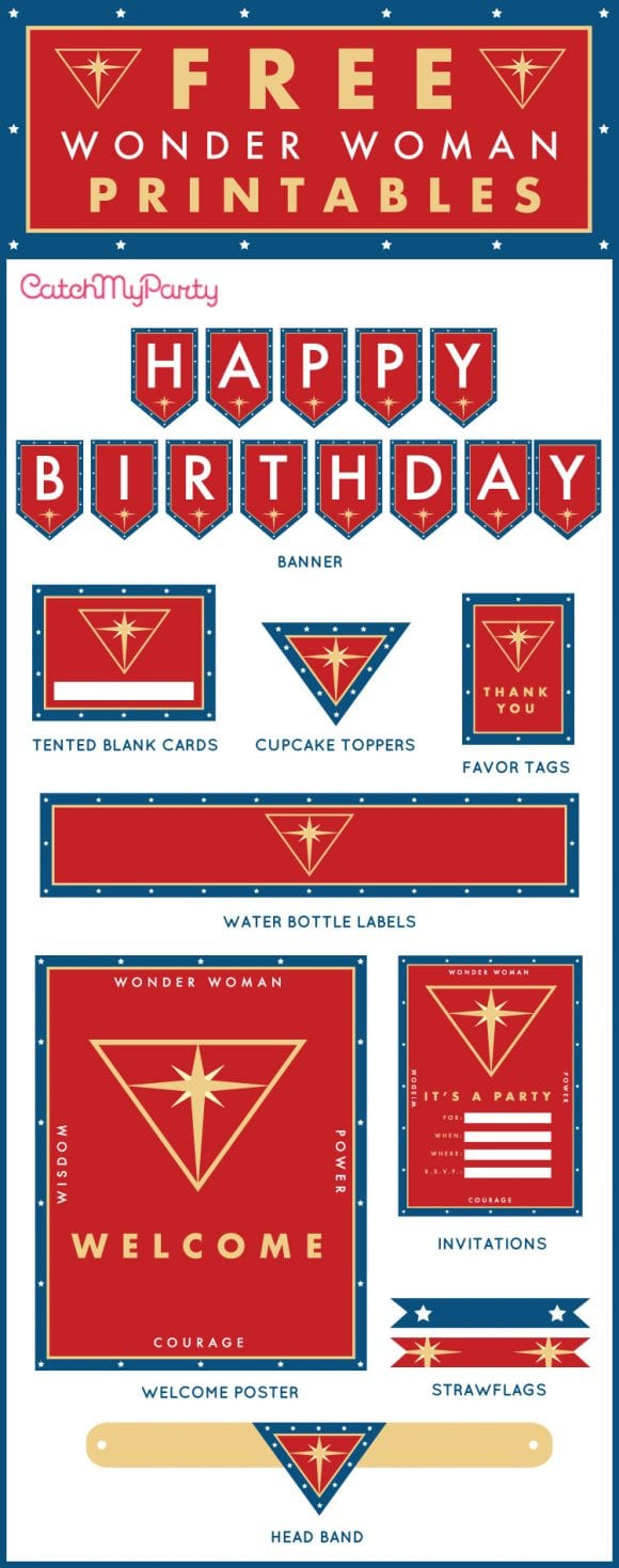free wonder woman birthday party