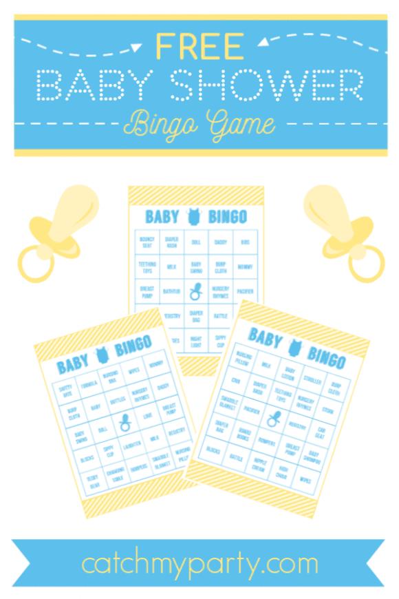 Printable Baby Bingo Template : printable, bingo, template, Download, Printable, Shower, Bingo, Boys!, Catch, Party