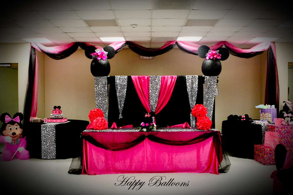 Minnie Mouse Zebra/Hot Pink Birthday Party Ideas