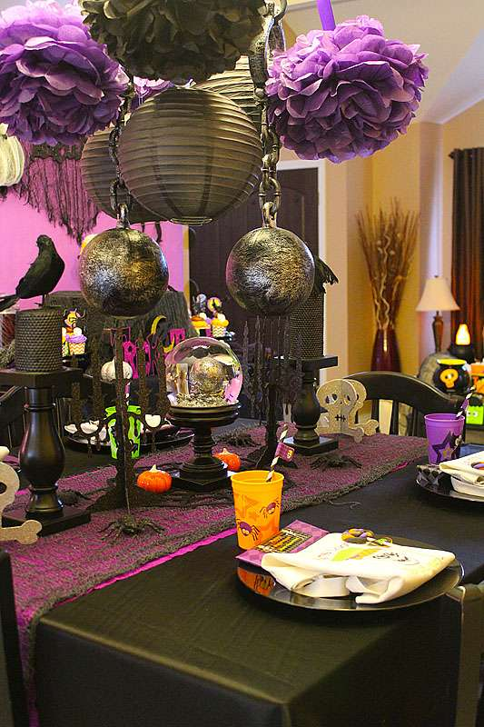 Create an adorable halloween centerpiece with candy, paper bake cups, and a cake stand. Halloween Party Halloween Party Ideas Photo 25 Of 47 Catch My Party