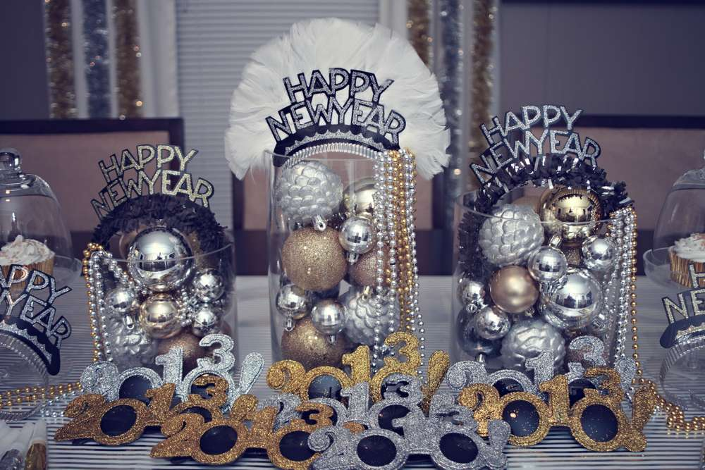 Silver Gold Amp Black New Years Party Ideas Photo 8 Of 38