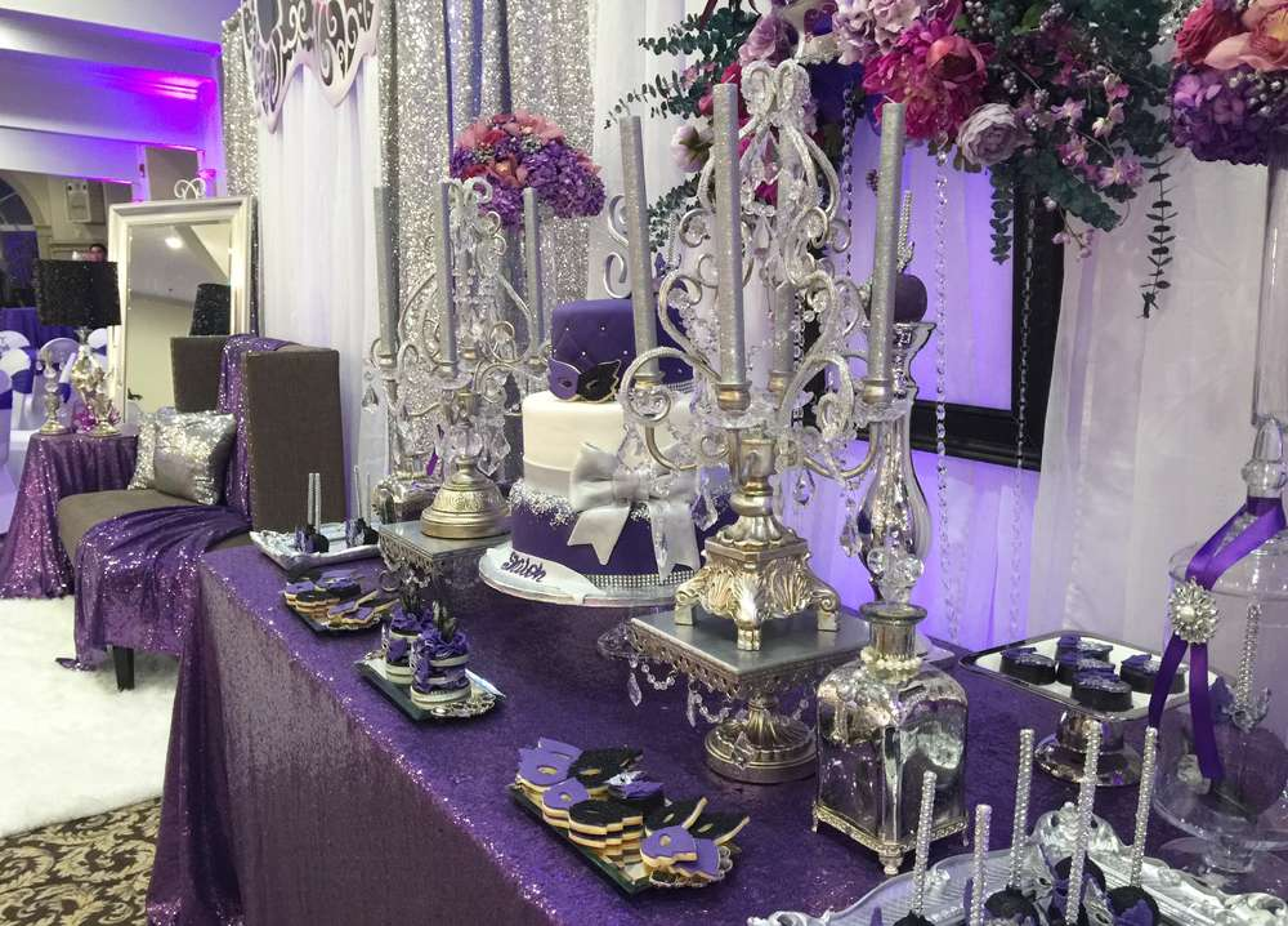high chair tutu corner masquerade quinceañera party ideas | photo 1 of 16 catch my