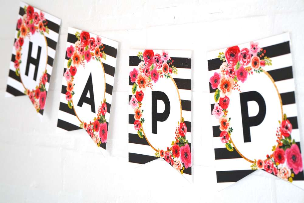 Black And White Floral Party Birthday Party Ideas Photo