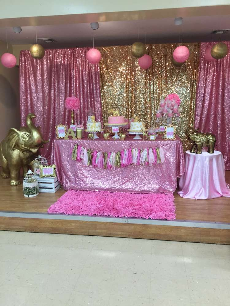 Pink  Gold Safari Baby Shower Party Ideas  Photo 1 of 21
