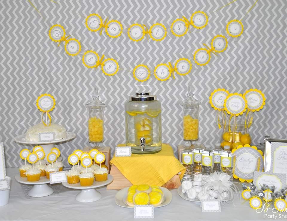 """Modern / Baby Shower """"Yellow and Gray Geometric Baby"""