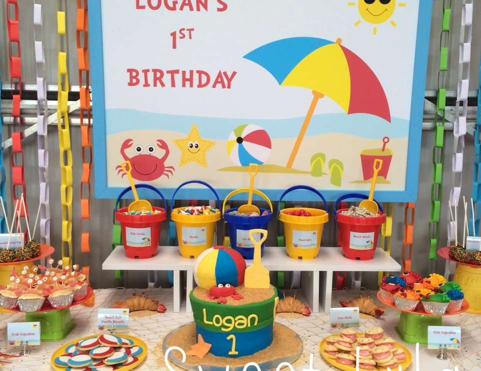 "Beach Theme / Birthday ""Logan's First Birthday Beach Party"
