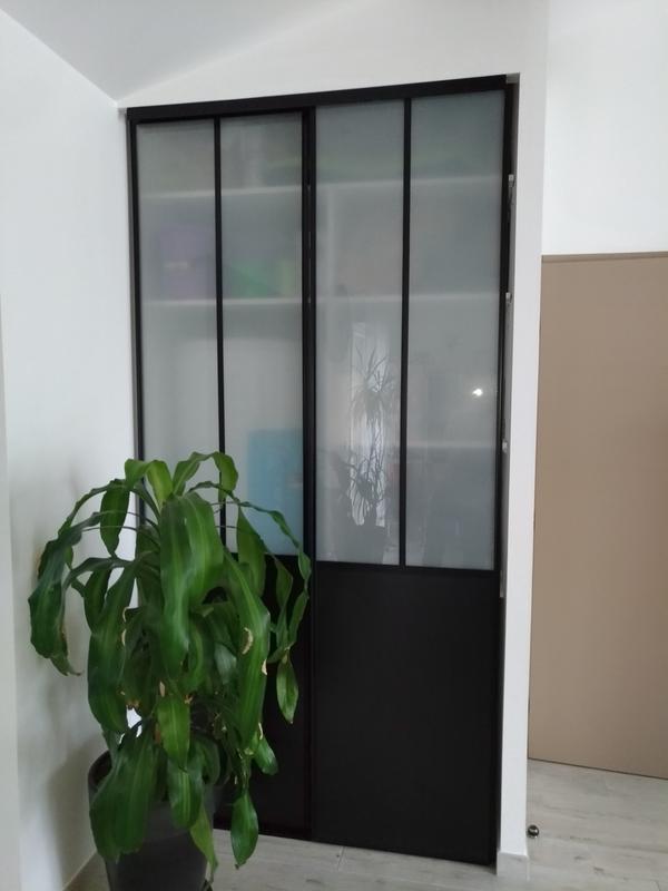 2 portes de placard coulissantes noires atelier 120 x 250 cm