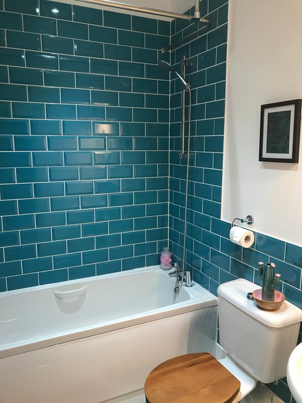 trentie turquoise gloss metro ceramic wall tile pack of 40 l 200mm w 100mm