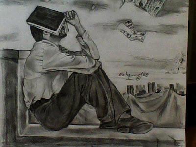 رسم لوحة فنية منظر طبيعي