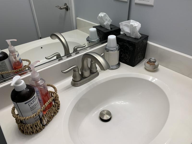 hamden spot resist brushed nickel two handle high arc bathroom faucet