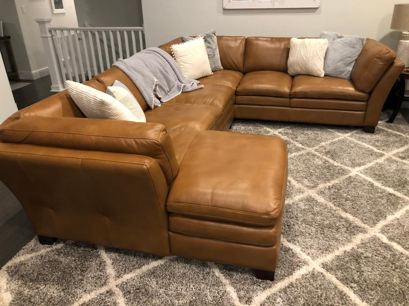 camel brown leather 3 piece sectional sofa sierra