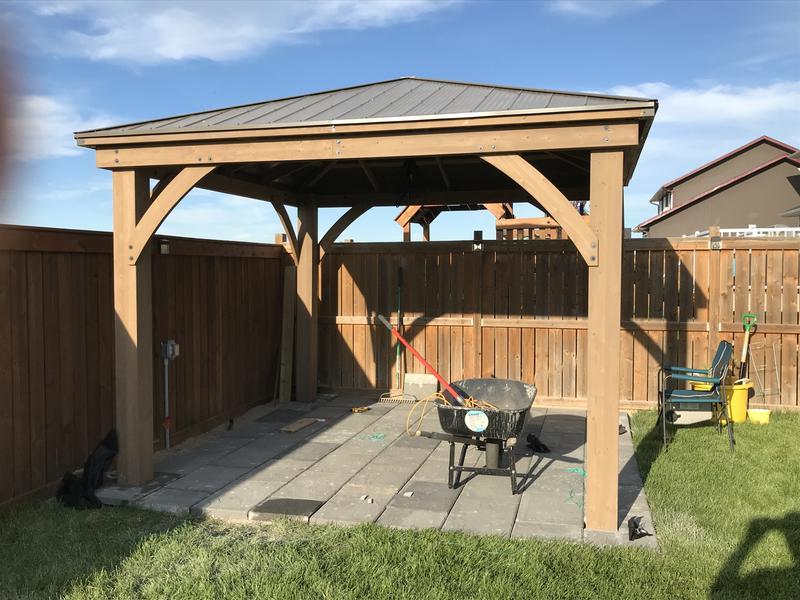 12 x 16 wood gazebo with aluminum roof