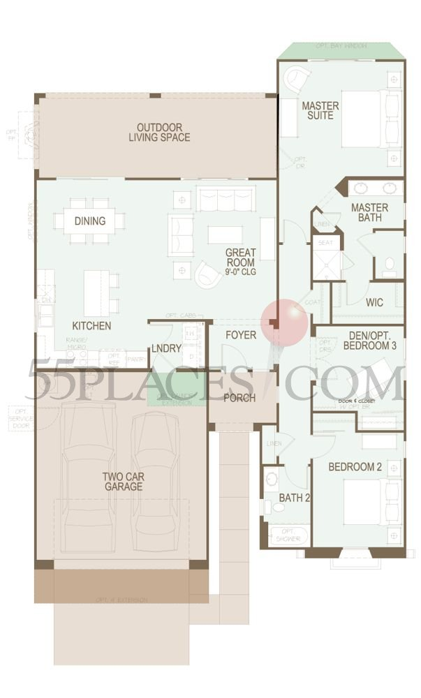 Bella Floorplan  1589 Sq Ft  SaddleBrooke  55placescom