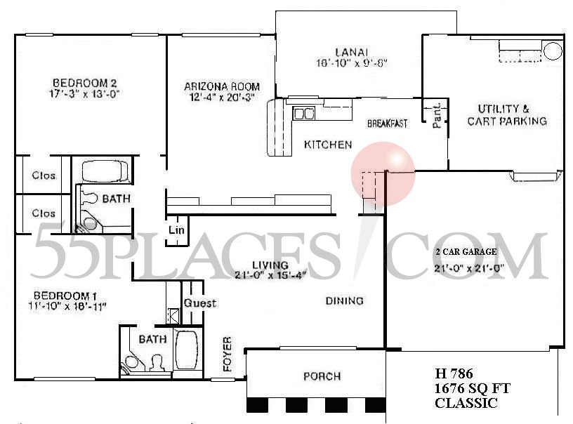 H786  Classic Floorplan  1761 Sq Ft  Sun City West  55placescom