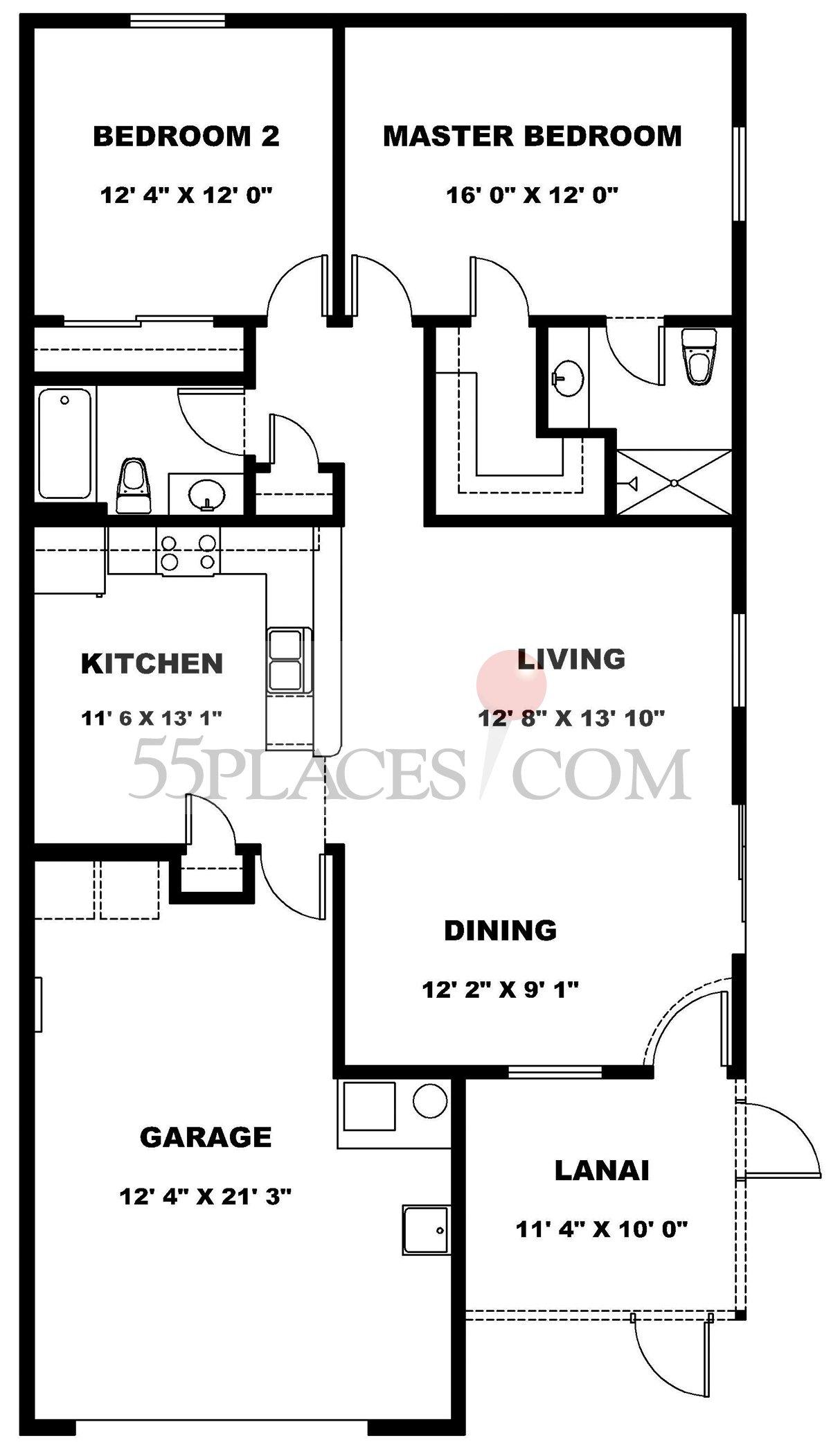 colony villa floorplan 1163 sq ft the villages 55places