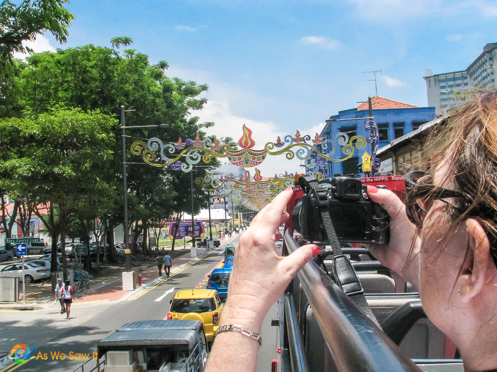Sightseeing from the top of a bus during our day in Singapore
