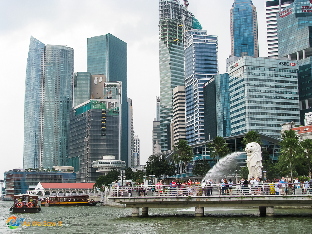 View of Merlion statue from the water.