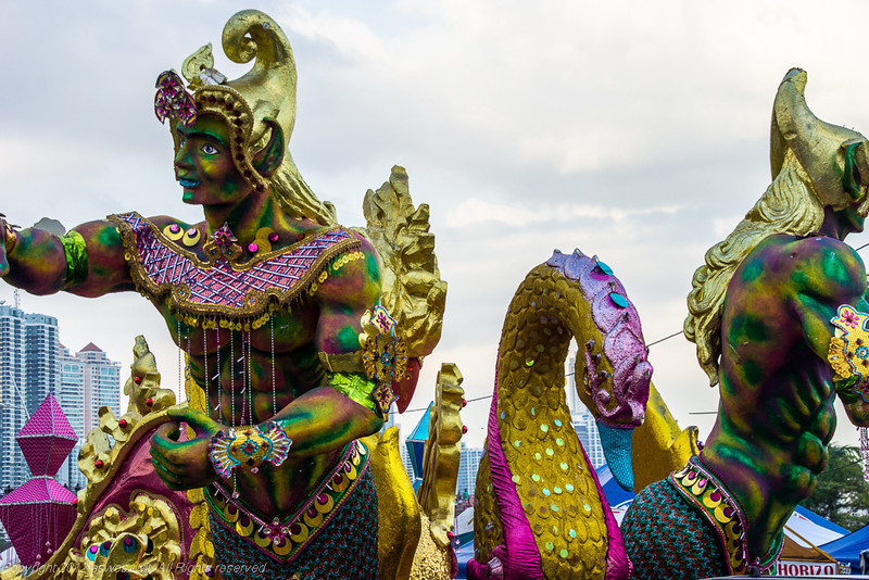 Colorful Carnaval float in Panama City