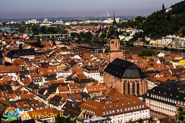 The red rooftops of Heidelberg from the Castle ramparts