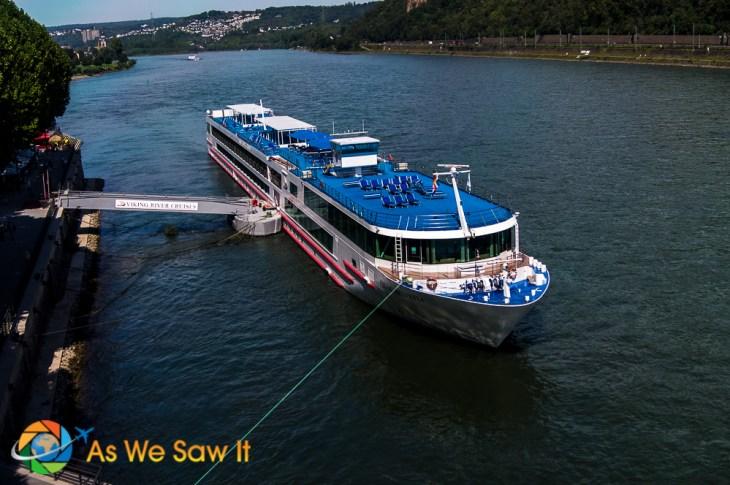 Viking River Cruise ship docked on Rhine River