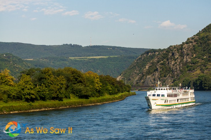 Ship cruising on the Rhine River