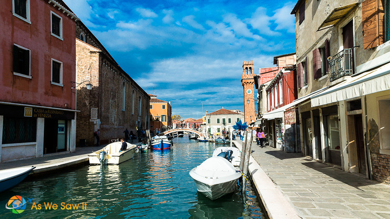 looking down a canal, Murano Italy