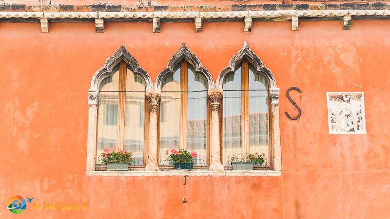 Moorish architectural details on a Murano building's windows