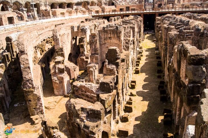 Passageways under the floor of the Colosseum's arena