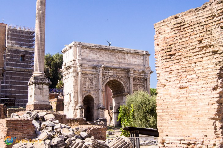 The arch of Titus contains images of the Romans carrying off the spoils from the destruction of Jerusalem's temple