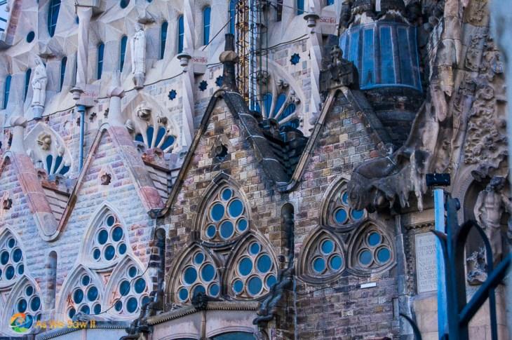 Two different eras of construction of La Sagrada Familia