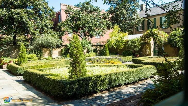 garden at Owens Thomas House, as seen through a gate
