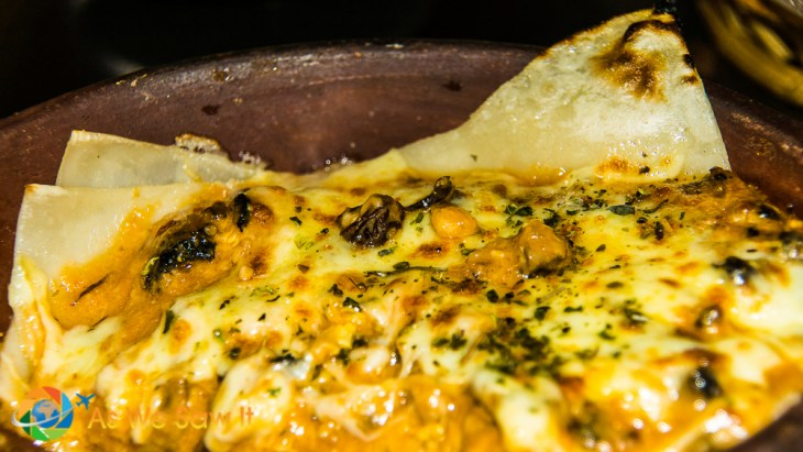 Made-to-order chicken lasagna at Pappardelle Cucina on the main street of Banos Ecuador