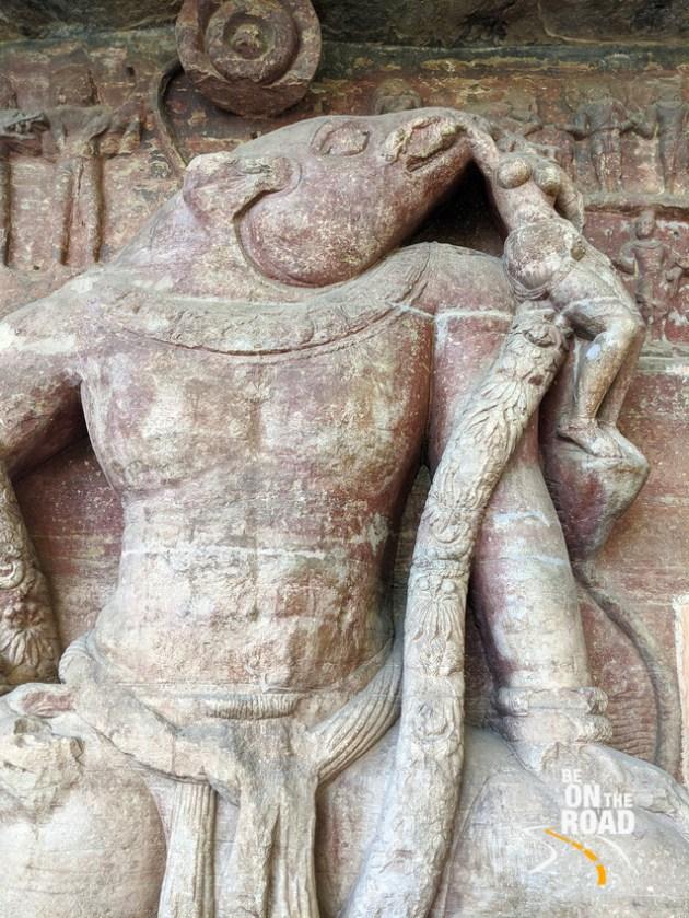 Cavalier Varaha saves Bhudevi at Udayagiri Caves, Madhya Pradesh